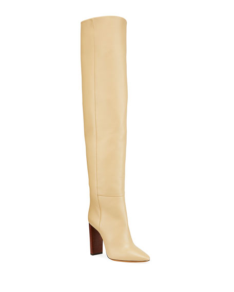 Saint Laurent 105mm Leather Over-the-Knee Boots