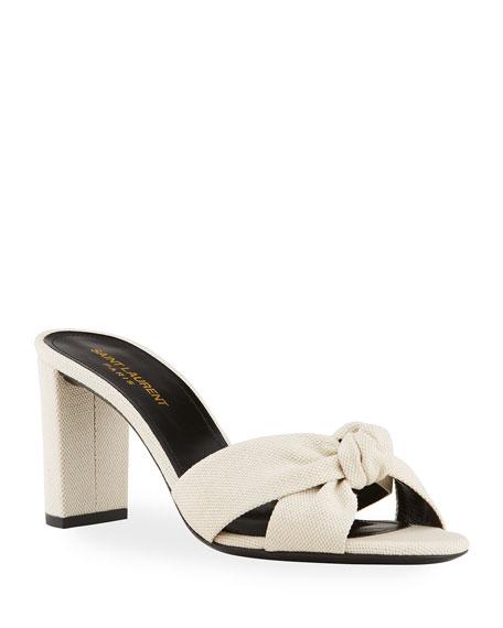 Saint Laurent 75mm Knot Crisscross Slide Sandals