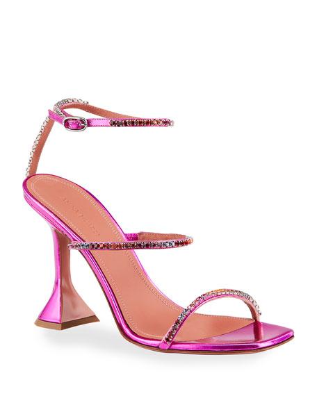 Amina Muaddi Gilda 95mm Hologram Ankle-Strap Sandals