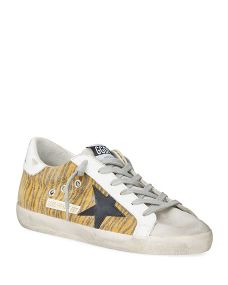 Golden Goose Superstar Zebra-Striped Canvas Sneakers