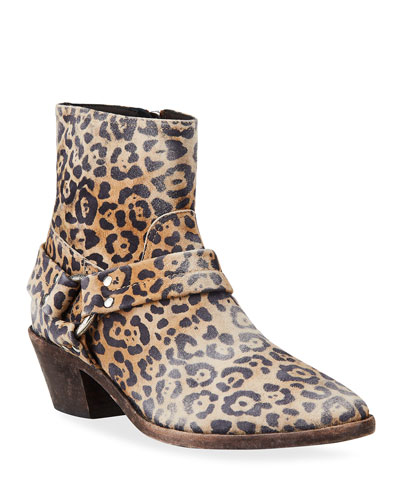 Bretagne Leopard-Print Harness Moto Booties