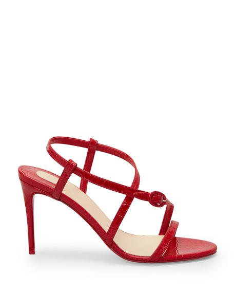 Christian Louboutin Selima Mock-Croc Stiletto Red Sole Sandals