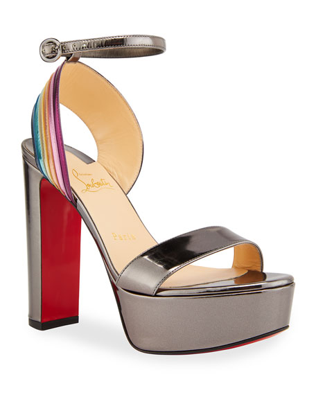Christian Louboutin Arkendisc Alta 130 Red Sole Sandals