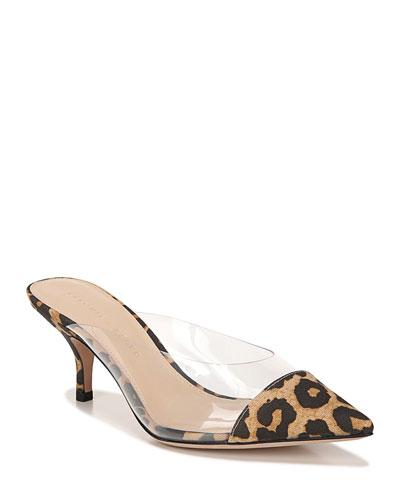 Maddie Leopard Cap-Toe Mules