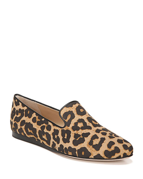 Veronica Beard Griffin Leopard-Print Canvas Loafers