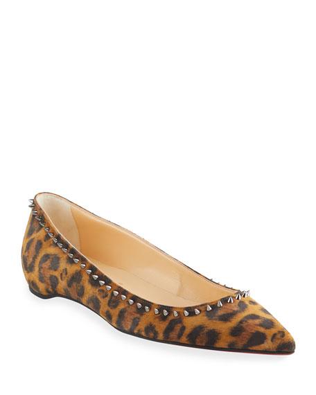 Christian Louboutin Anjalina Leopard-Print Spike Ballerina Flats