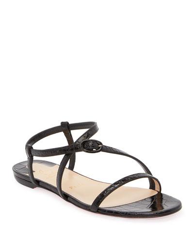 Selima Mock-Croc Flat Sandals