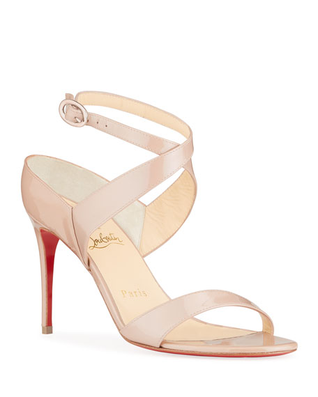 Christian Louboutin Liloo Patent Ankle-Strap Red Sole Sandals