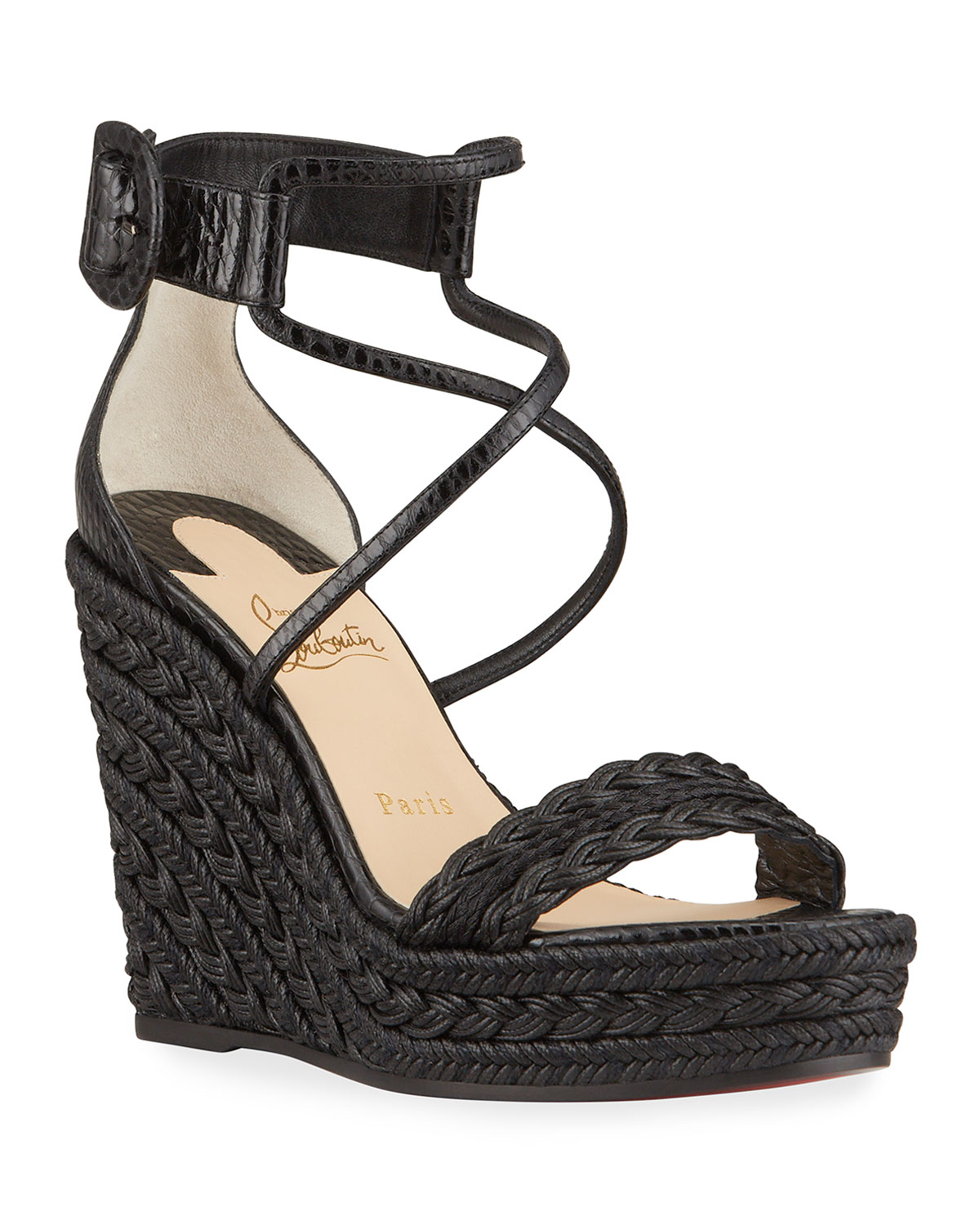 Christian Louboutin BODRUM WOVEN COTTON ANKLE-TIE ESPADRILLE SANDALS