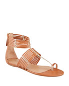 Aquazzura Ravello Gladiator Toe-Ring Flat Sandals