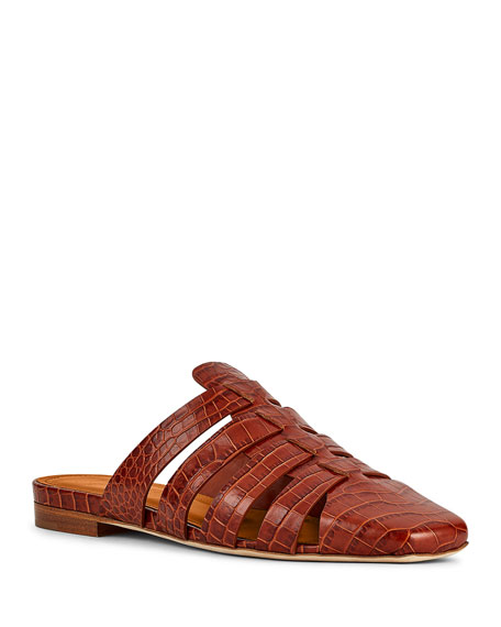 Malone Souliers Diana Woven Mock-Croc Cage Mules