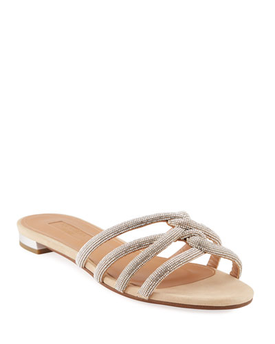 Moon Dust Flat Napa Leather Slide Sandals
