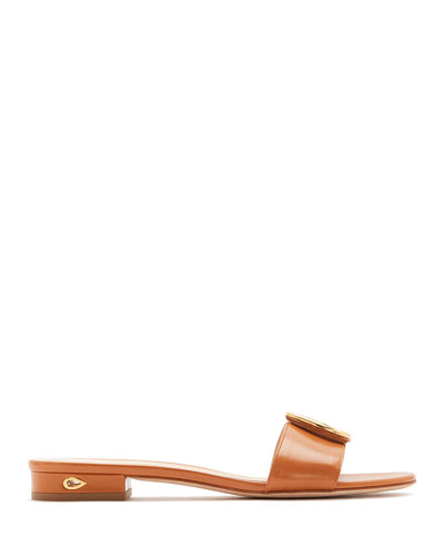 Andrea Flat Capretto Slide Sandals with Teardrop Buckle