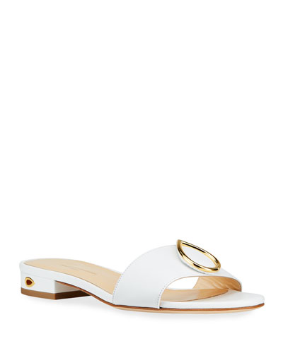 Andrea Flat Napa Slide Sandals with Teardrop Buckle