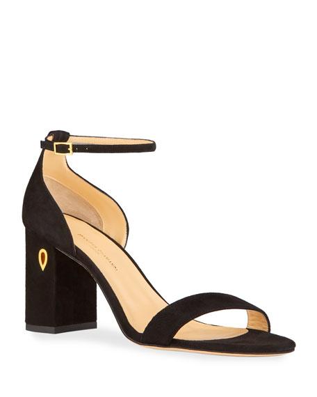Jennifer Chamandi Massimo 85mm Suede Block-Heel Sandals