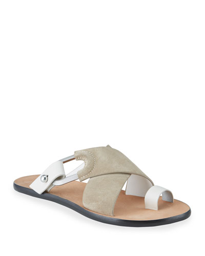 August Suede Toe-Ring Flat Slide Sandals