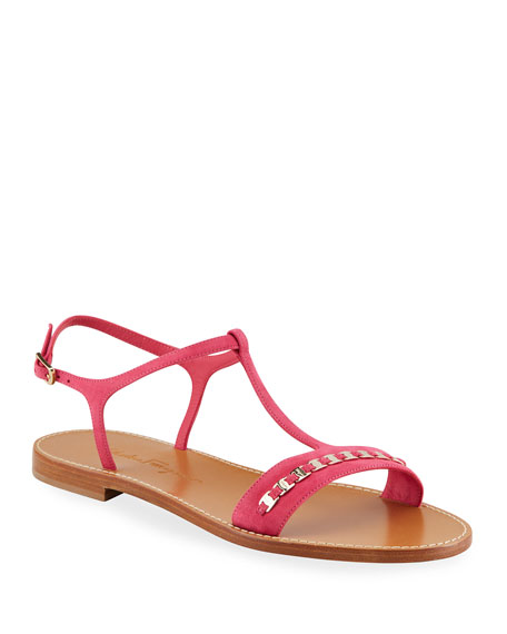 Salvatore Ferragamo Tremiti Suede Chain Flat Sandals