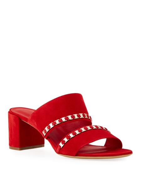 Salvatore Ferragamo Trabia Suede Chain Low-Heel Slide Sandals