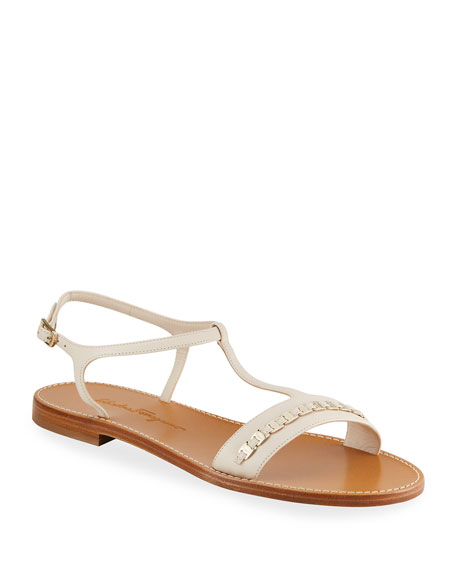 Salvatore Ferragamo Tremiti Leather Chain Flat Sandals