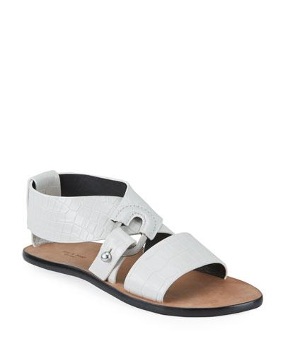 August Mock-Croc Flat Sandals