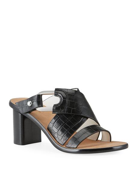 Rag & Bone August Heeled Mock-Croc Mule Sandals