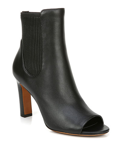 Elsie Leather Open-Toe Heeled Booties