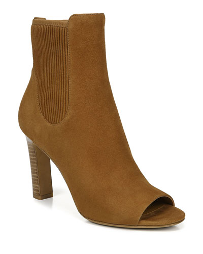 Elsie Suede Open-Toe Heeled Booties