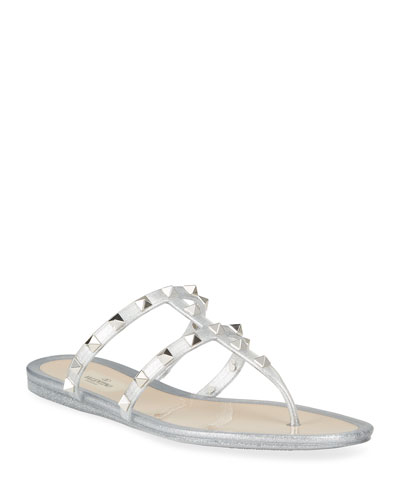 Rockstud Glitter Jelly Flat Slide Sandals