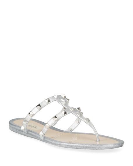 Valentino Garavani Rockstud Glitter Jelly Flat Slide Sandals