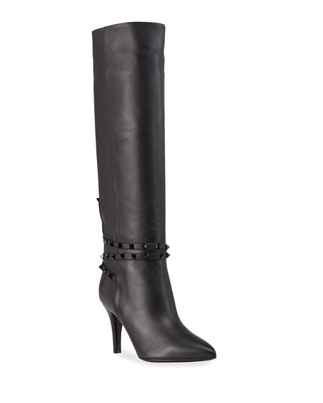 Valentino Garavani 85mm Rockstud Knee-High Leather Boots
