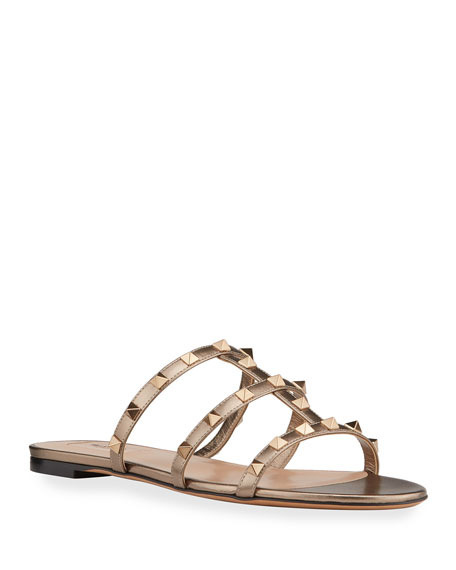 Valentino Garavani Rockstud Metallic City Flat Slide Sandals