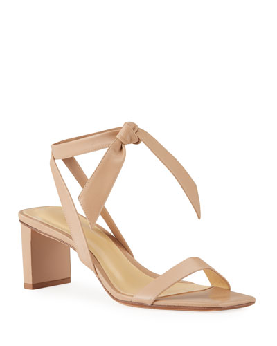 Katie Knotted Leather Ankle-Wrap Sandals