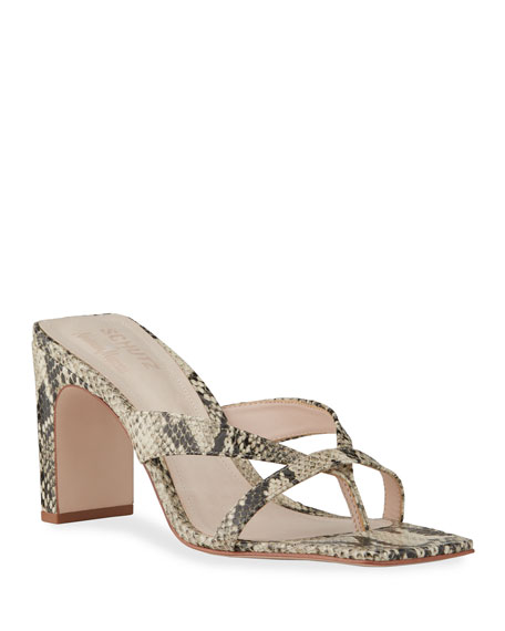 Schutz Allile Mid-Heel Printed Leather Thong Sandals