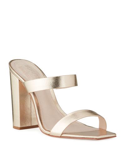 Maribel Square-Toe Metallic Leather Sandals