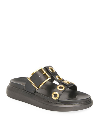 Grommet Buckle Slide Sandals