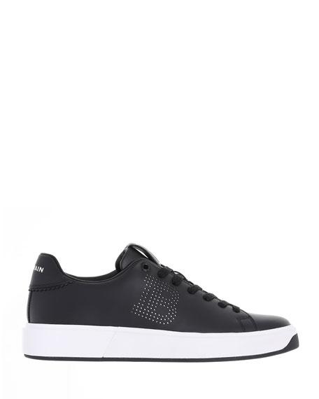 Balmain B Court Two-Tone Perforated Sneakers