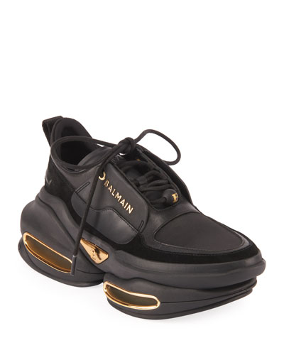 Bold Mixed Leather Fashion Sneakers
