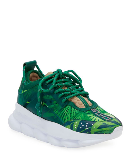 Versace Chain Reaction Jungle-Print Platform Sneakers