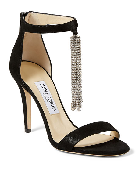 Jimmy Choo Viola Suede Crystal Tassel Cocktail Sandals