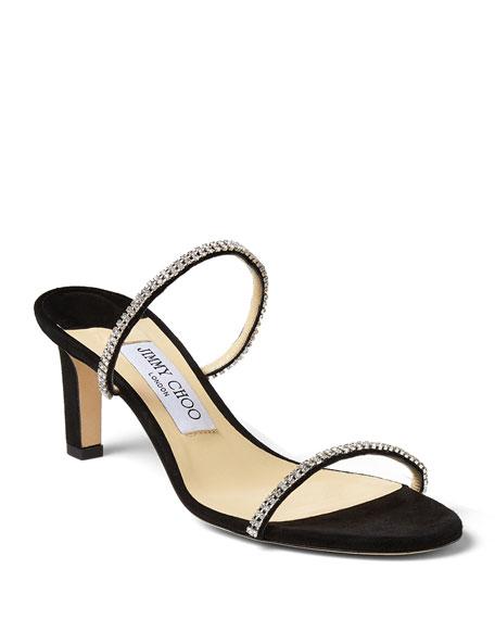 Jimmy Choo Brea Crystal Suede Mule Sandals