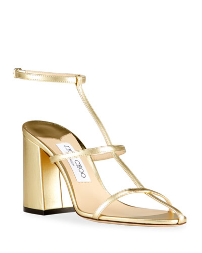 Linley Metallic T-Strap Sandals