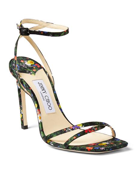 Jimmy Choo 100mm Floral Ankle-Strap Sandals