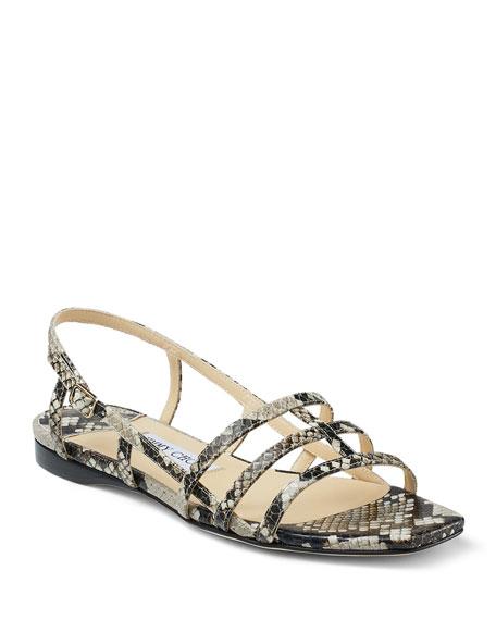 Jimmy Choo Arien Snake-Print Flat Sandals