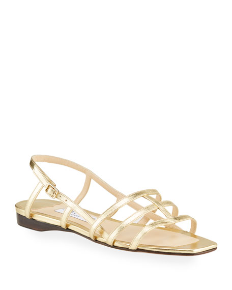 Jimmy Choo Arien Metallic Leather Cage Slingback Sandals