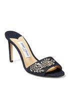 Jimmy Choo Stacey Embellished Denim Slide Sandals