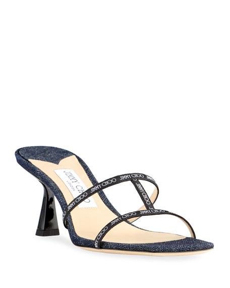 Jimmy Choo Ria 65mm Denim Slide Sandals