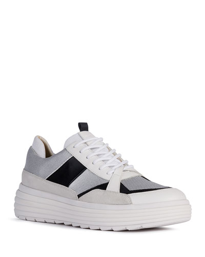 Phaolae Mixed Leather Low-Top Sneakers
