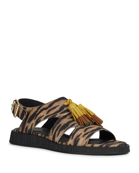 Geox Taormina Leopard-Print Cage Sandals