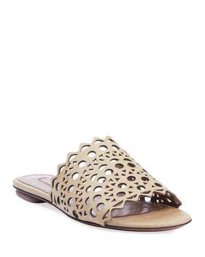 Laser Cut Leather Flat Slide Sandals