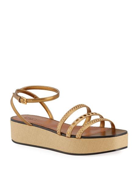ALAIA Laser-Cut Raffia Wedge Sandals